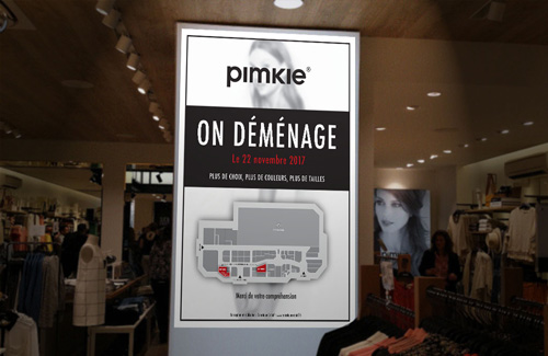 Signaletic/Signage Design for Pimke, France - Women's Fashion Retail Store