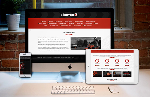Website Design and Development for Biketec Motorcycle Training, UK